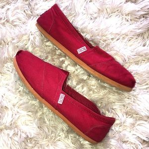 Red Bobs Canvas Slip-On shoes by Skechers